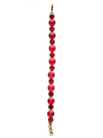 Round Cut Crystal Line Bracelet in Antique Gold-tone Sansa Red