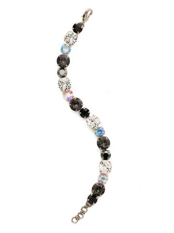 Round Cut Crystal Line Bracelet in Antique Silver-tone Black Tie