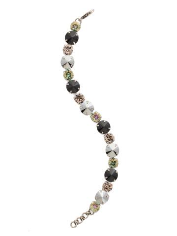 Round Cut Crystal Line Bracelet in Antique Silver-tone Black Onyx