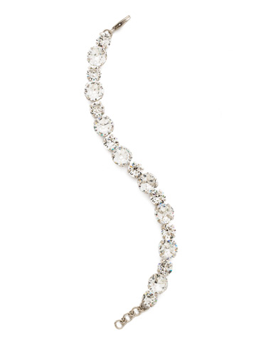 Round Cut Crystal Line Bracelet in Antique Silver-tone Crystal