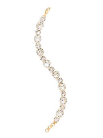 Round Cut Crystal Line Bracelet in Bright Gold-tone Crystal