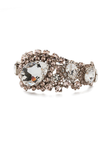 Crystal Paisley Hinge Cuff in Antique Silver-tone Soft Petal
