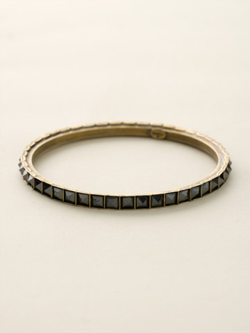 Semi-Precious Pyramid Bangle in Antique Gold-tone Black and White