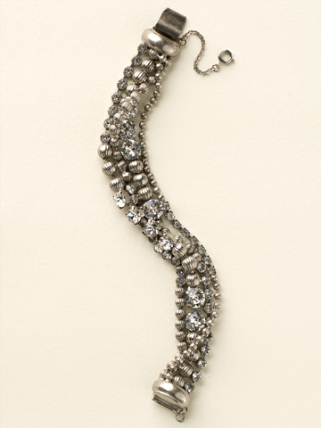 Multi-Strand Crystal and Corrugated Ball Chain Bracelet in Antique Silver-tone Crystal