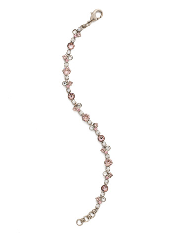 Modern Crystal Tennis Bracelet in Antique Silver-tone Crystal Rose