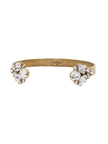 Crystal Cluster Cuff Bracelet in Antique Gold-tone Crystal
