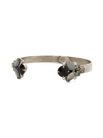 Crystal Cluster Cuff Bracelet in Antique Silver-tone Black Onyx