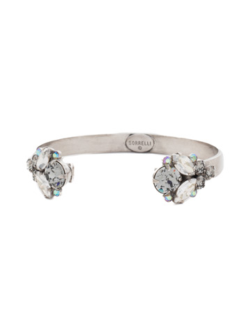 Crystal Cluster Cuff Bracelet in Antique Silver-tone Crystal Rock