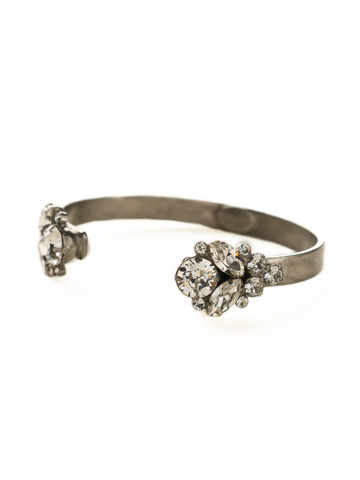 Crystal Cluster Cuff Bracelet in Antique Silver-tone Crystal