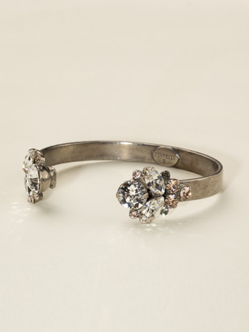 Crystal Cluster Cuff Bracelet in Antique Silver-tone Snow Bunny
