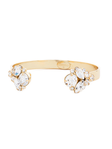 Crystal Cluster Cuff Bracelet in Bright Gold-tone Crystal