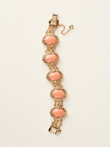 Antique Inspired Oval Cabochon Bracelet in Bright Gold-tone Caribbean Coral