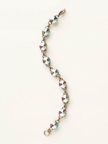 Round-Cut Classic Bracelet in Antique Gold-tone Black Diamond Aurora Borealis