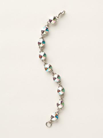 Round-Cut Classic Bracelet in Antique Silver-tone Black Diamond Aurora Borealis