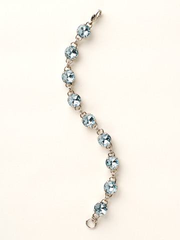Round-Cut Classic Bracelet in Antique Silver-tone Light Aqua