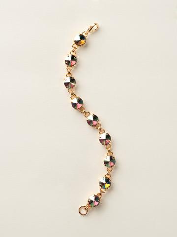 Round-Cut Classic Bracelet in Bright Gold-tone Black Diamond Aurora Borealis