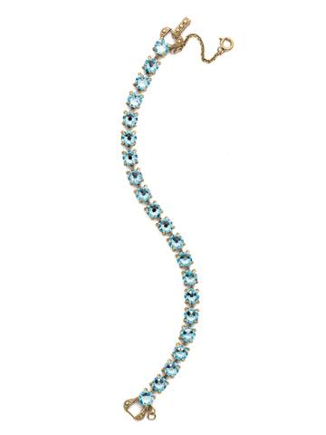 Repeating Round Crystal Line Bracelet in Antique Gold-tone Aquamarine
