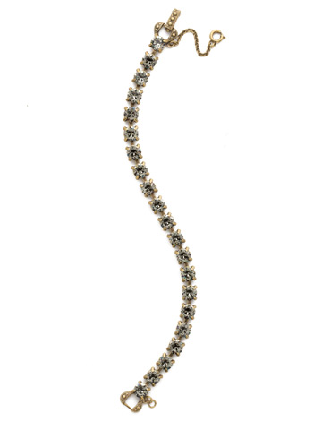 Repeating Round Crystal Line Bracelet in Antique Gold-tone Black Diamond