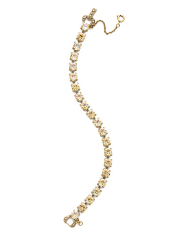 Repeating Round Crystal Line Bracelet in Antique Gold-tone Crystal Champagne