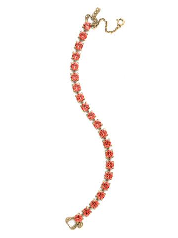 Repeating Round Crystal Line Bracelet in Antique Gold-tone Coral
