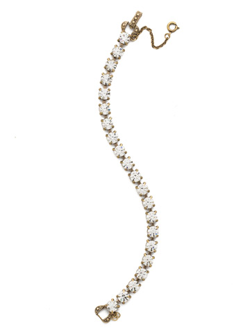 Repeating Round Crystal Line Bracelet in Antique Gold-tone Crystal