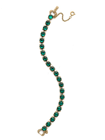 Repeating Round Crystal Line Bracelet in Antique Gold-tone Emerald