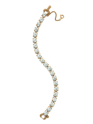 Repeating Round Crystal Line Bracelet in Antique Gold-tone Light Aqua