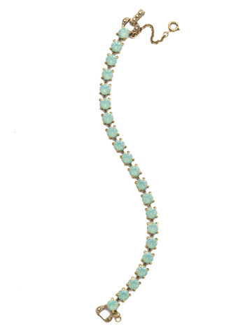Repeating Round Crystal Line Bracelet in Antique Gold-tone Pacific Opal