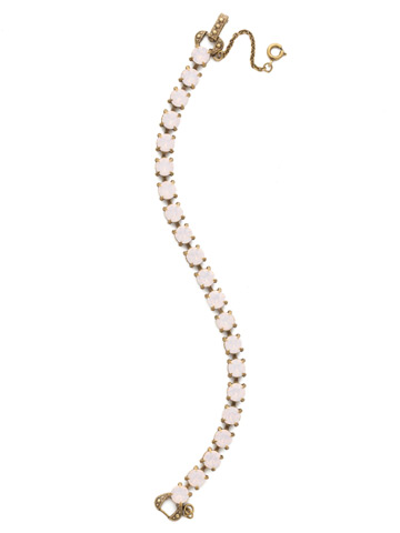 Repeating Round Crystal Line Bracelet in Antique Gold-tone Rose Water