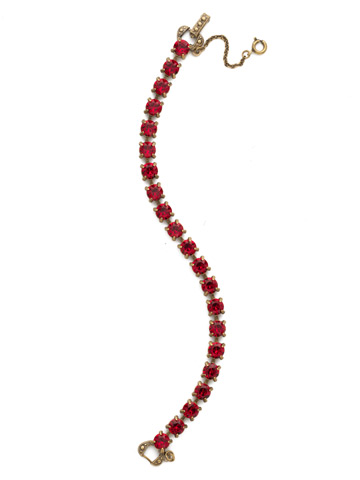 Repeating Round Crystal Line Bracelet in Antique Gold-tone Siam
