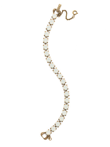 Repeating Round Crystal Line Bracelet in Antique Gold-tone White Opal