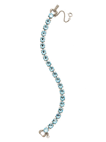 Repeating Round Crystal Line Bracelet in Antique Silver-tone Aquamarine