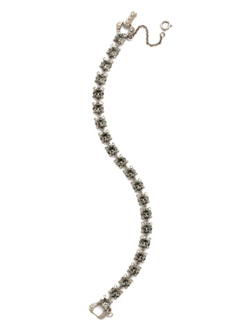 Repeating Round Crystal Line Bracelet in Antique Silver-tone Black Diamond