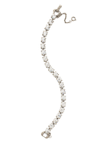 Repeating Round Crystal Line Bracelet in Antique Silver-tone Crystal