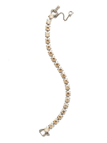Repeating Round Crystal Line Bracelet in Antique Silver-tone Dark Champagne