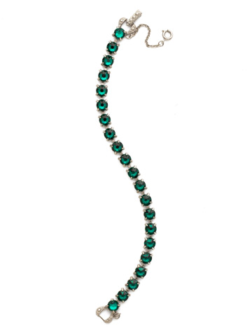 Repeating Round Crystal Line Bracelet in Antique Silver-tone Emerald