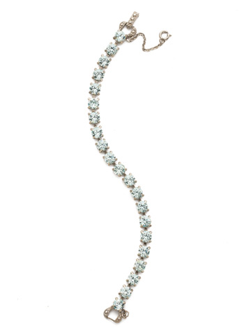 Repeating Round Crystal Line Bracelet in Antique Silver-tone Light Aqua