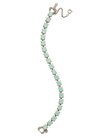 Repeating Round Crystal Line Bracelet in Antique Silver-tone Pacific Opal