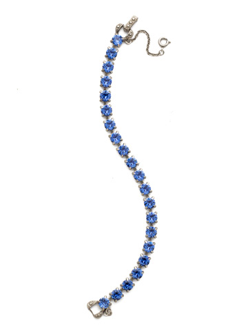 Repeating Round Crystal Line Bracelet in Antique Silver-tone Sapphire