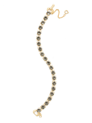 Repeating Round Crystal Line Bracelet in Bright Gold-tone Black Diamond