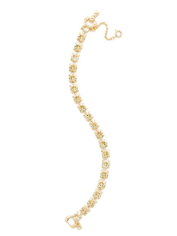 Repeating Round Crystal Line Bracelet in Bright Gold-tone Crystal Champagne