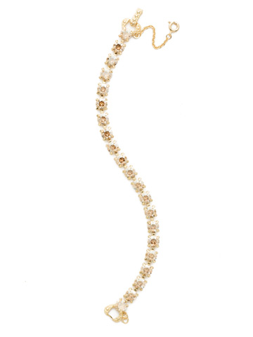 Repeating Round Crystal Line Bracelet in Bright Gold-tone Dark Champagne