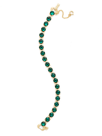 Repeating Round Crystal Line Bracelet in Bright Gold-tone Emerald
