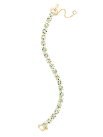 Repeating Round Crystal Line Bracelet in Bright Gold-tone Mint