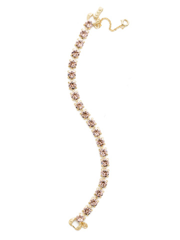 Repeating Round Crystal Line Bracelet in Bright Gold-tone Vintage Rose