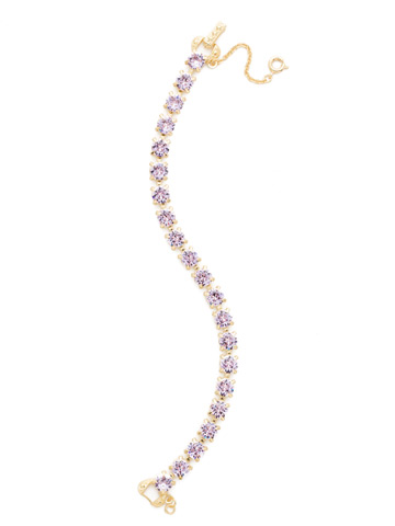 Repeating Round Crystal Line Bracelet in Bright Gold-tone Violet