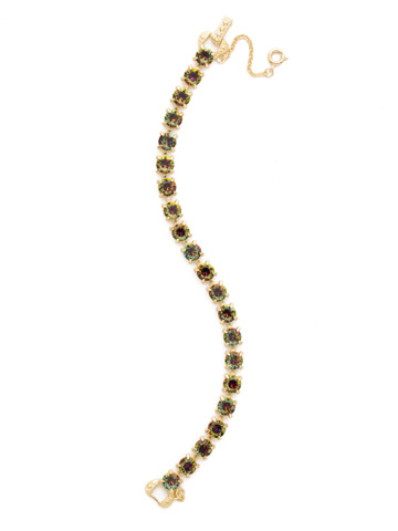 Repeating Round Crystal Line Bracelet in Bright Gold-tone Volcano