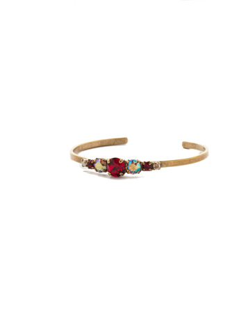 Petite Round Crystal Cuff Bracelet in Antique Gold-tone Go Garnet