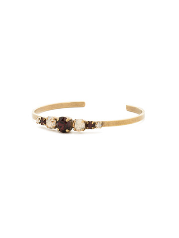 Petite Round Crystal Cuff Bracelet in Antique Gold-tone Mighty Maroon