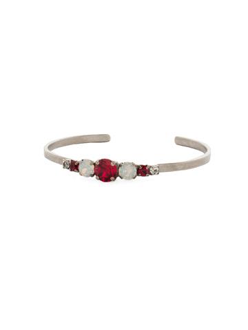 Petite Round Crystal Cuff Bracelet in Antique Silver-tone Crimson Pride